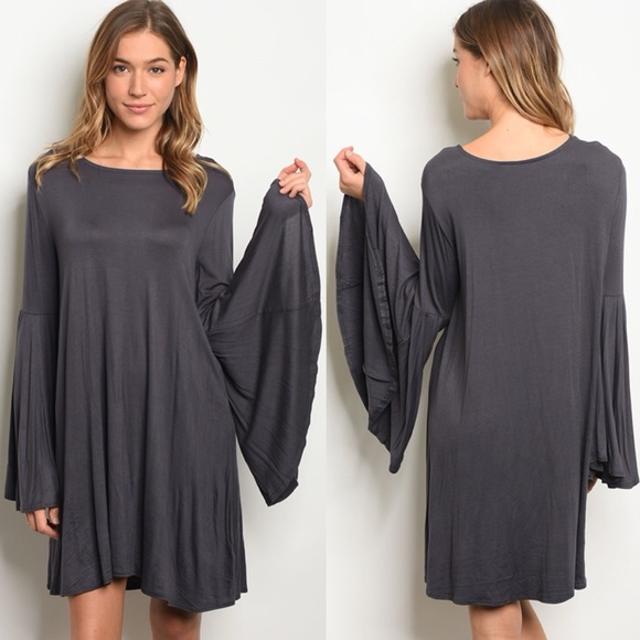 afc3e1785637 ARRIVED • Charcoal Gray Long Bell Sleeve Dress